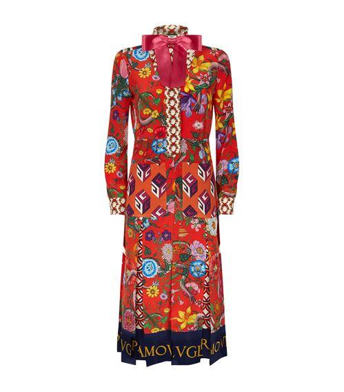 Floral Patchwork Silk Midi Dress