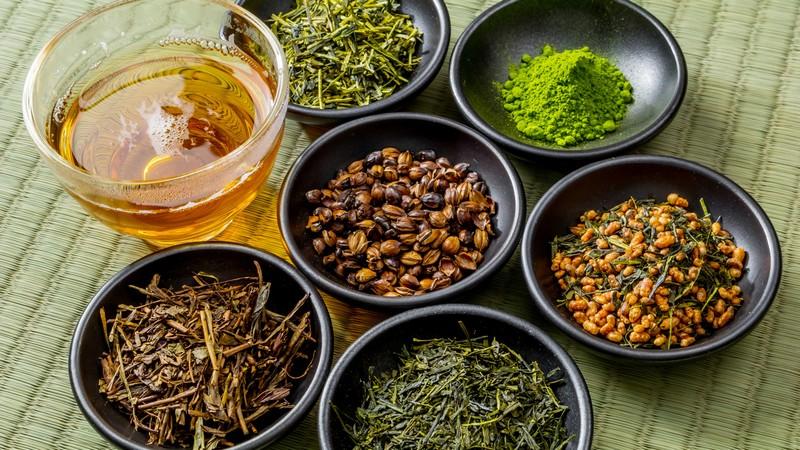 Various Japanese green tea