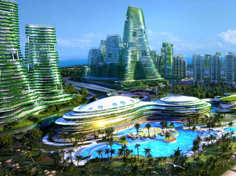 Spectacular design for green city mimics forest s ecosystem for Smart city design hotel