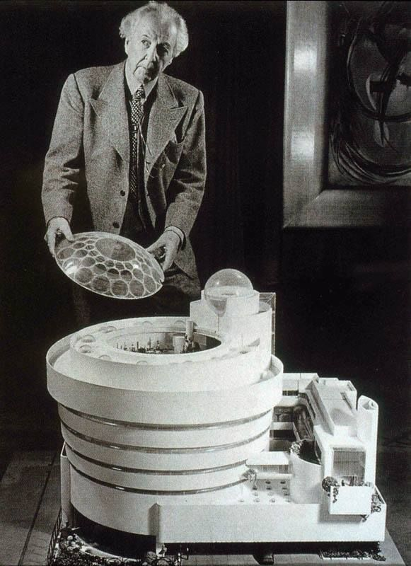 Frank Lloyd Wright working on the Guggenheim Museum New York