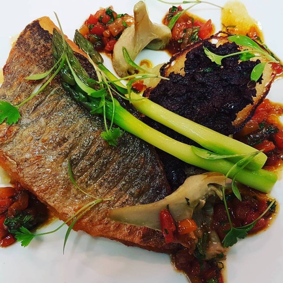 Gingerman Restaurant Group 2017 - Sea Bream, Tapenade Crouton, Crushed Baby Potatoes, Roasted Pepper Sauce Vierge
