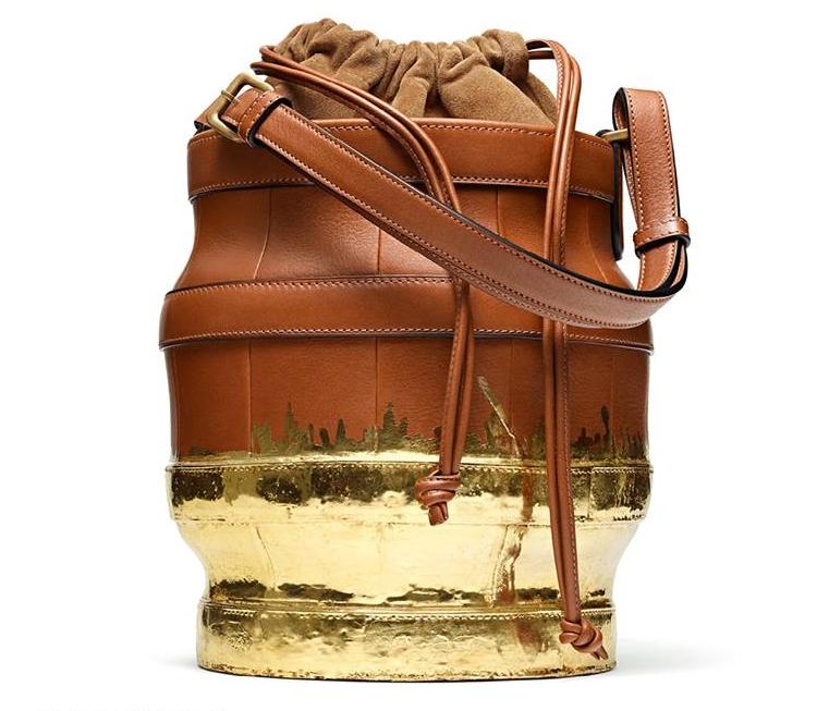 Gold-Dipped Pecan Calf and Suede Lantern Bag