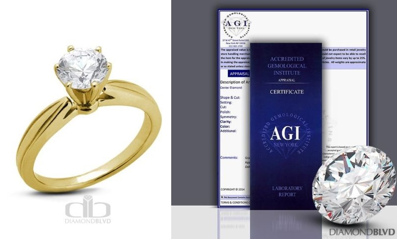 Good Cut Round AGI Earth Mined Diamond 14K Cathedral Ring