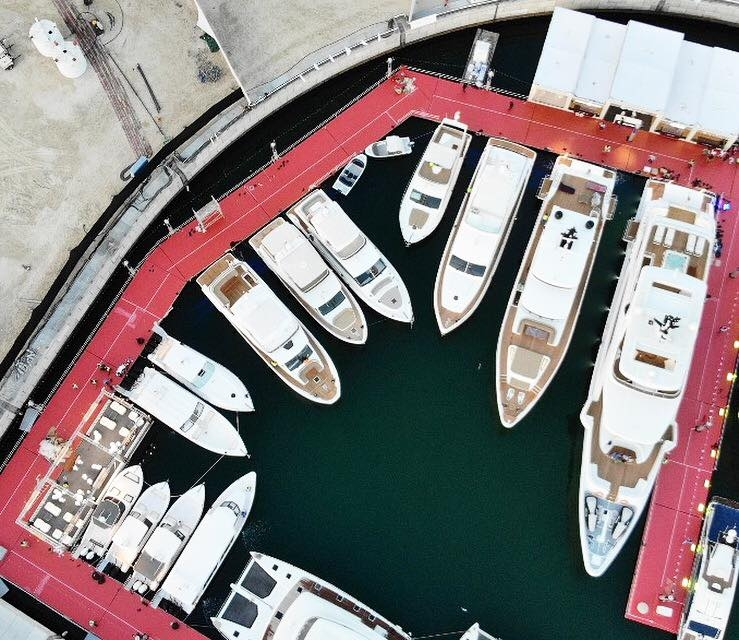 Gulf Craft boats are lined up at 2018 DubaiBoatShow