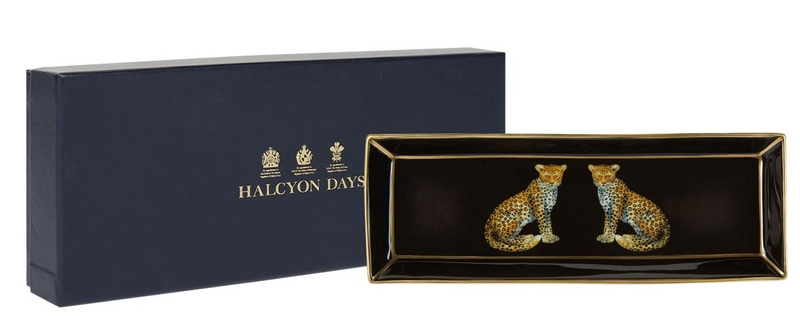 Halcyon Days Leopards Rectangular Tray