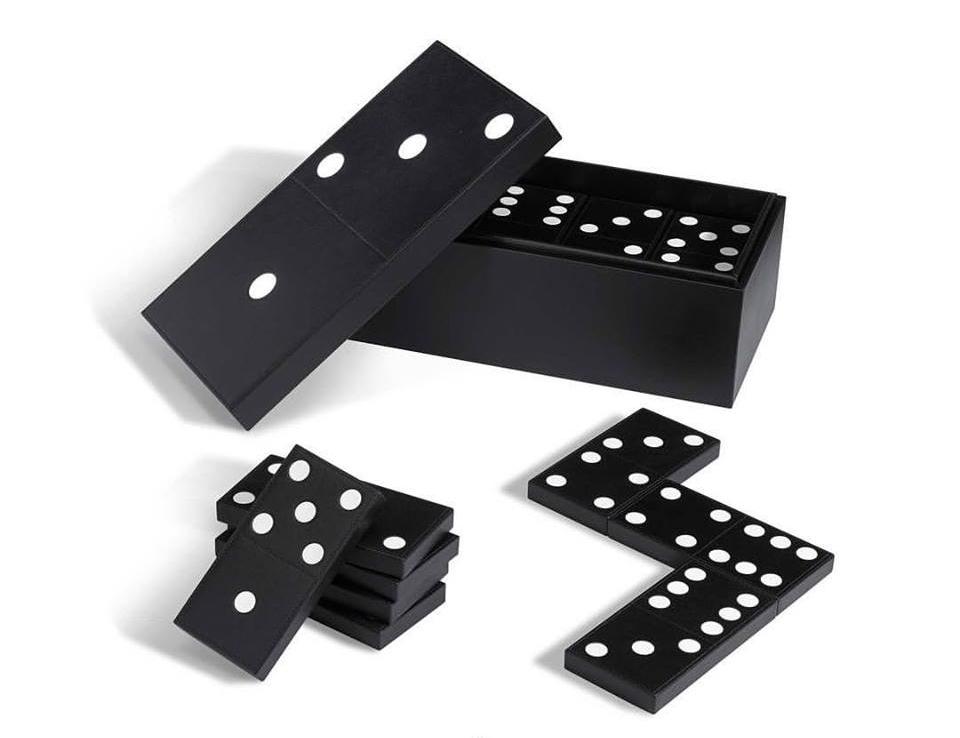 Handmade domino set in calf leather