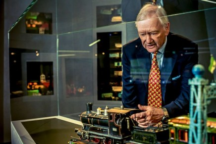 Hans-Peter Porsche is giving a tour of his monumental world of toys