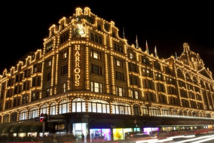Iconic Harrods storefront in complete darkness