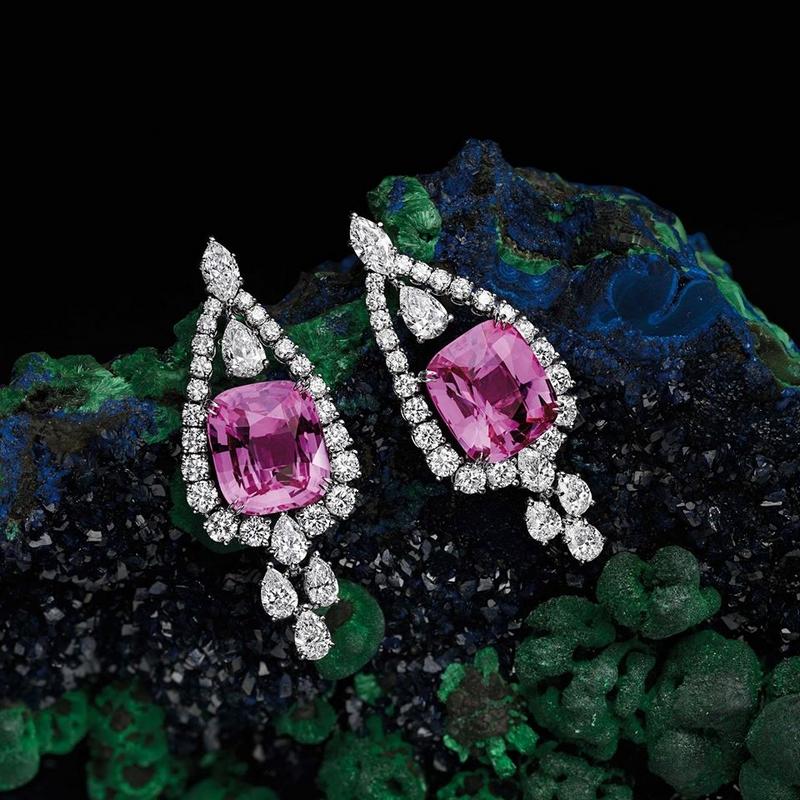 Harry Winston Cushion-Cut Pink Sapphire Earrings