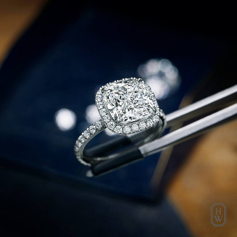 Harry Winston The One Cushion-Cut Diamond Micropavé Engagement Ring