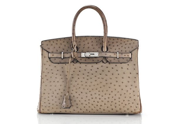 Hermes Birkin handbag made with ostrich leather at Sotheby's auction