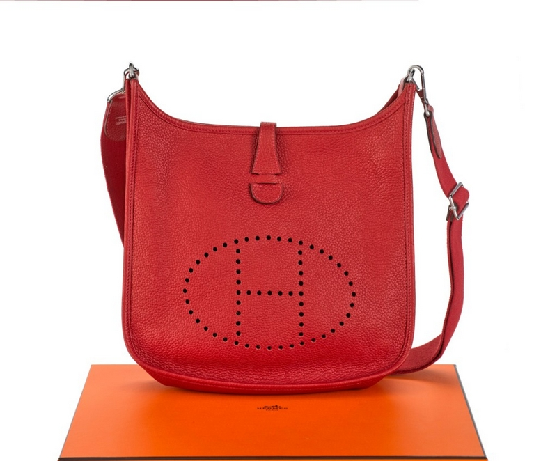 Hermes Evelyn III 29 Rouge Casaque Colour in Clemence Leather with Palladium Hardwar