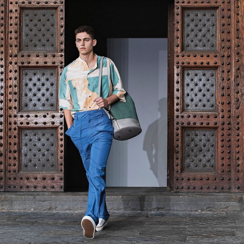 Hero Fiennes-Tiffin walked down the runway in a luminous heritage print featuring a brand new colour story