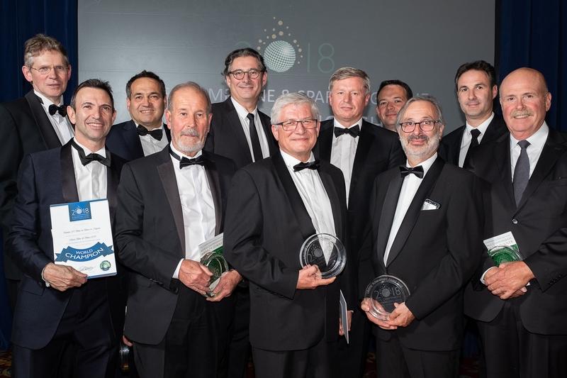 Herve_Deschamps_with_fellow_Chefs_de_caves_receiving_Lifetime_Achievement_Awards