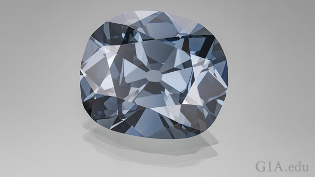 Hope diamond, a natural color Fancy dark grayish blue diamond.