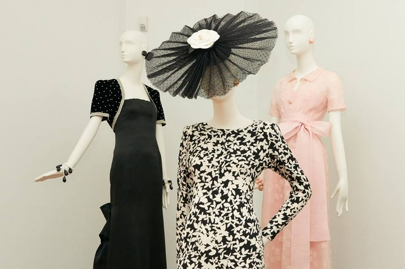 Hubert de Givenchy. To Audrey with Love exhibition photos - The Black-and-White dress in the foreground 1989-1990 worn by Audrey Hepburn