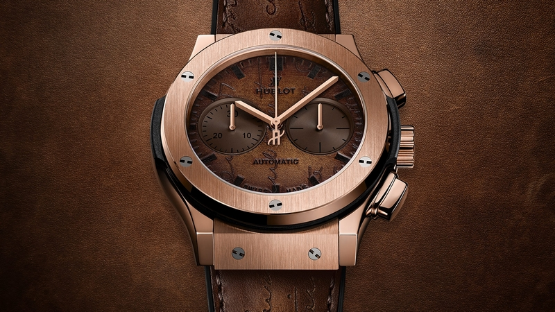 Hublot launches Classic Fusion Chronograph with patina of Berluti leathers