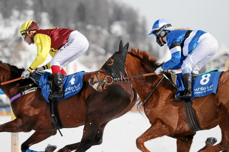 Impression of the White Turf St. Moritz, the famous international horse races on the frozen lake of St. Moritz, Switzerland, February 19, 2017-