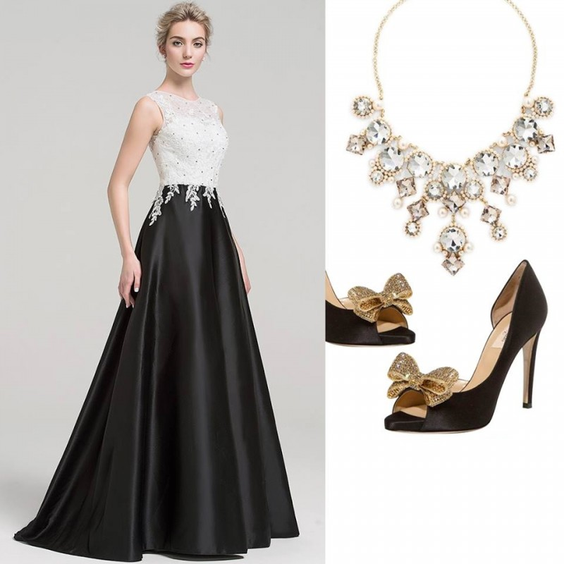 JJsHouse - A sleeveless dress with a beaded lace bodice and a luxurious satin skirt for a perfect combination