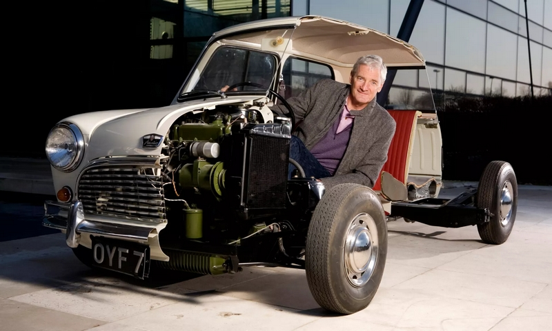 James Dyson photographed with an early Austin Mini