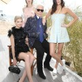 Karl Lagerfeld with Lily Donaldson, Lindsey Wixson and Kendall Jenner at the 'Fendi by Karl Lagerfeld' book presentation in Cannes