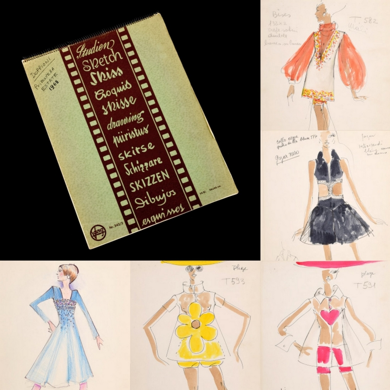 Karl Lagerfeld's Earliest Fashion Sketches for Tiziani at Auction-