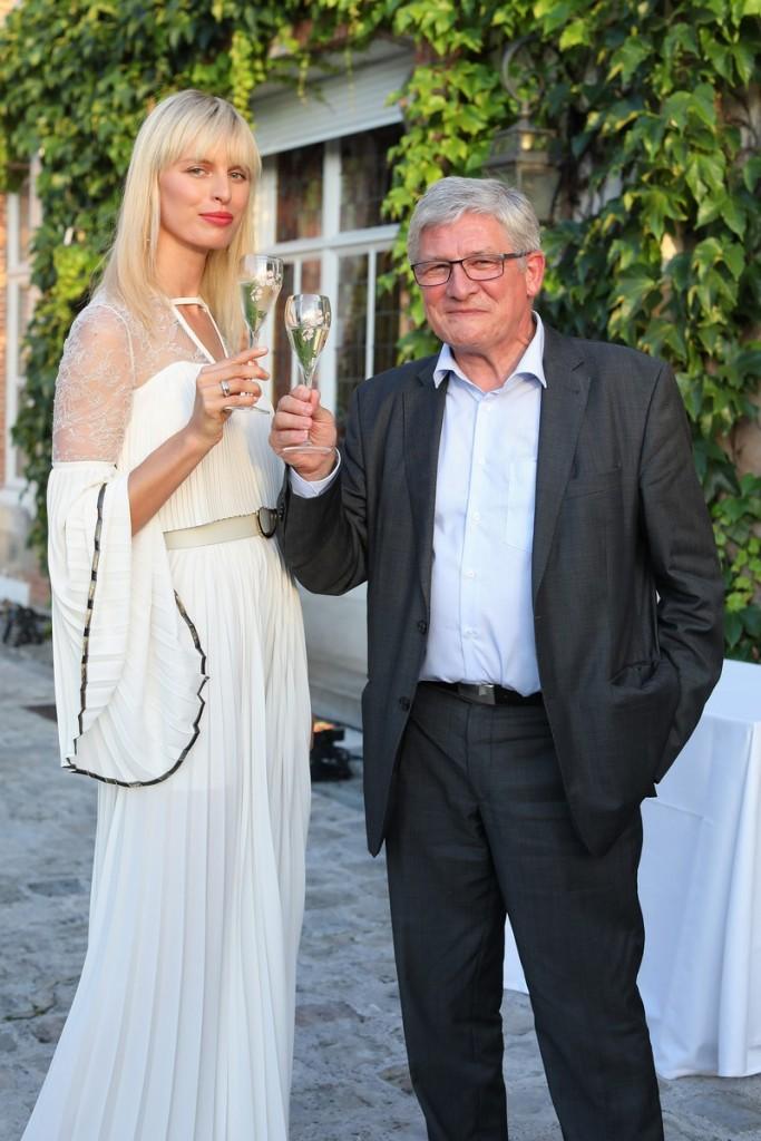 Karolina Kurkova with Perrier-Jouët Cellar master Hervé Deschamps