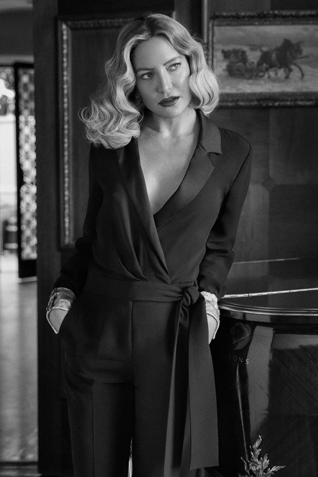 Kate Hudson wears a jumpsuit from the special Giorgio Armani womenswear capsule collection for NET-A-PORTER