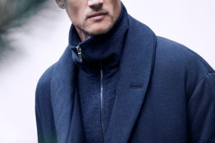 Fine cashmere in classic navy for a demure winter look: Cashmere Flakes Capsule