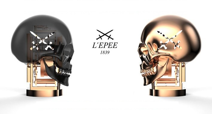 L'Epée 1839 skull By Kostas Metaxas displays the time in the sockets of the eye-