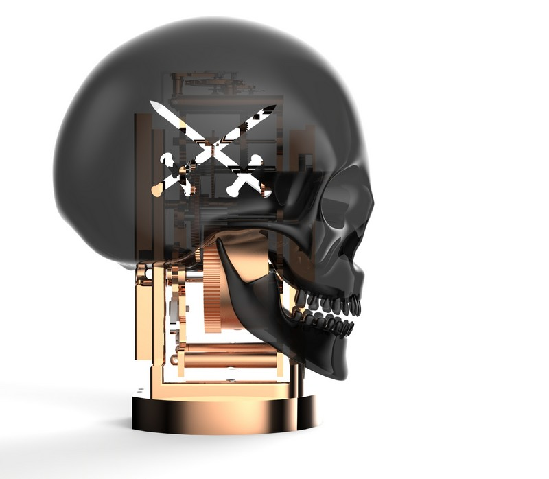 L'Epée 1839 skull By Kostas Metaxas displays the time in the sockets of the eye