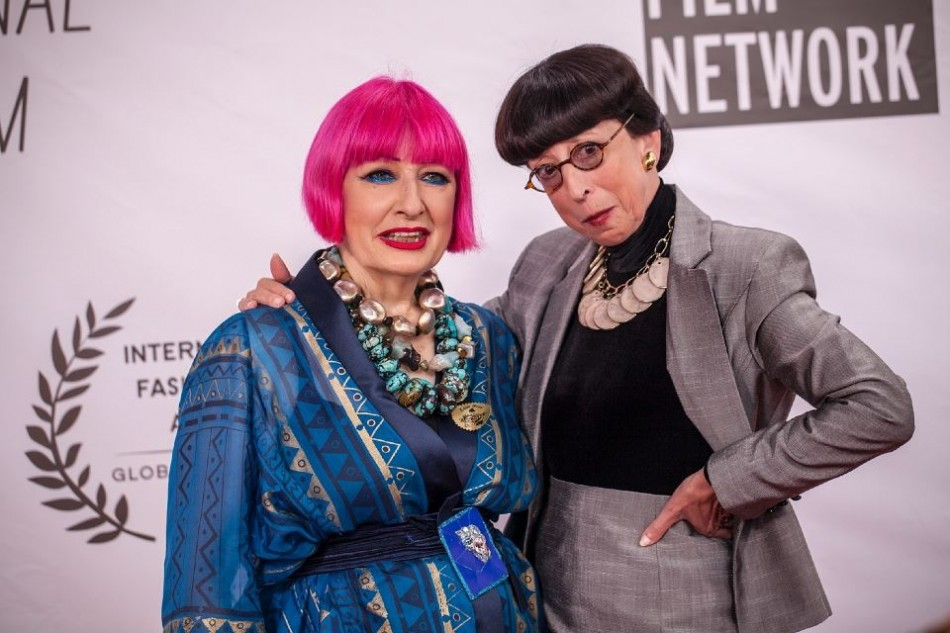 La Jolla Fashion Film Festival 2014-World renowned fashion designer Dame Zandra Rhodes with famed Hollywood costume designer Edith Head on the Red Carpet
