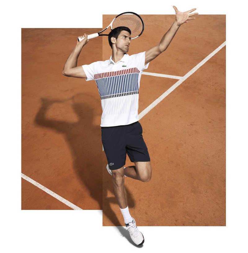 Lacoste has developed for Novak Djokovic an eponymous clothing line to be worn on the tennis court -2017 ad campaign-