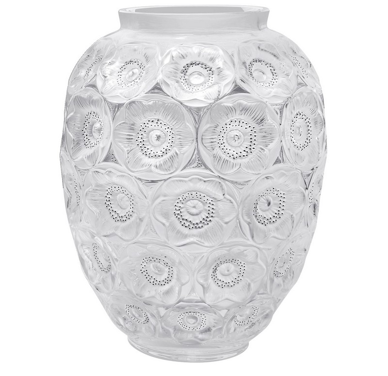 Lalique Anemone Grand Pure crystal Vase
