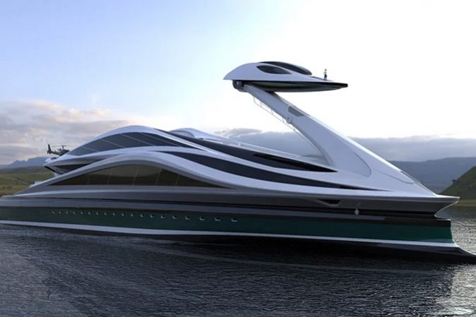 The detachable head of this swan-shaped yacht can be used as a separate boat