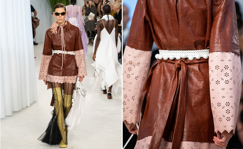Leather on jacket sleeves delicately perforated to echo Broderie Anglaise lace, as seen at the #LOEWE SS20 show
