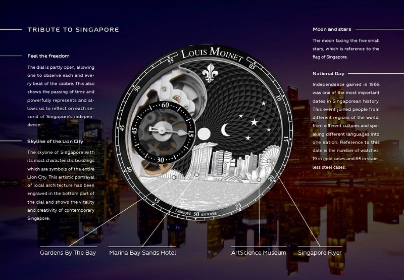 Louis Moinet Singapore Edition Watch 2017 - the dial