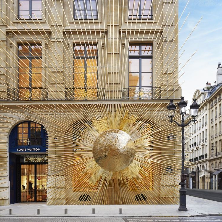 Louis Vuitton opened the doors to its new Maison Louis Vuitton Vendôme at 2 Place Vendôme in Paris, Frane - exterior details