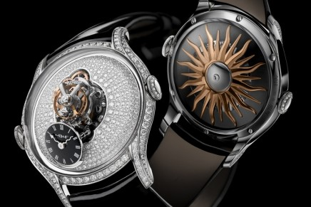 The audacious MB&F Legacy Machine FlyingT is a capsular jewelry for the women's wrist