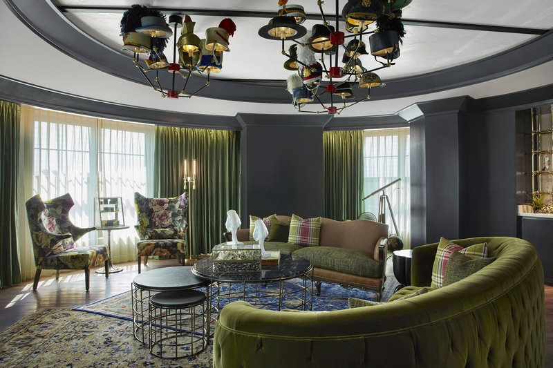 MGM Springfield's whimsical Presidential Suite features a chandelier adorned with hats.