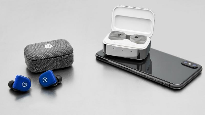 MW07 GO True Wireless Earphones in Electric Blue and MW07 PLUS True Wireless Earphones in White Marble