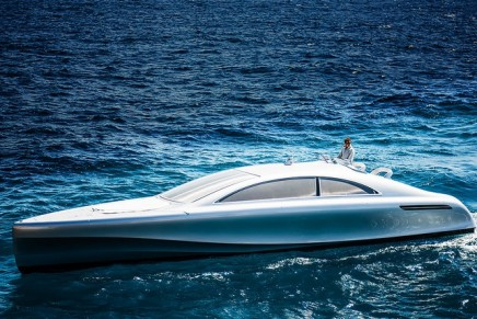 Take the helm of the first Arrow 460 Granturismo motor yacht, the sleek silver machine by Mercedes-Benz Style