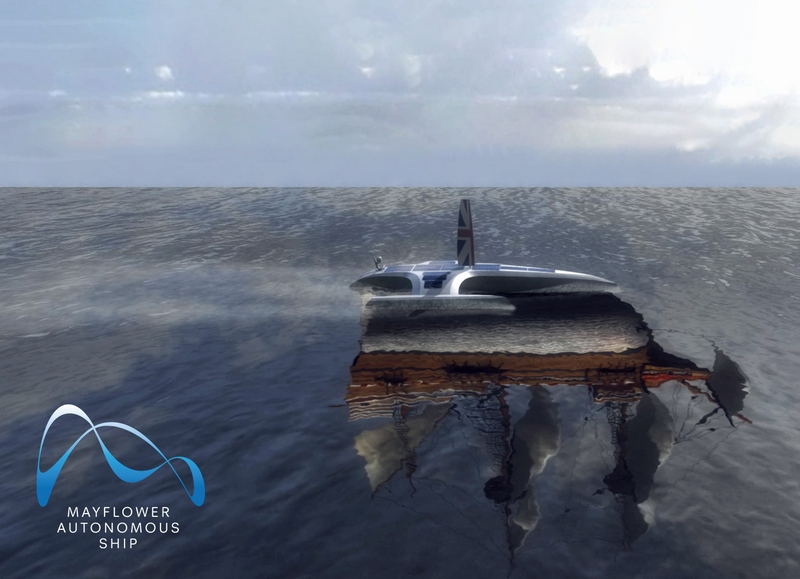 Mayflower Autonomous Ship at sea with a reflection of the original Mayflower, inspiration for the project