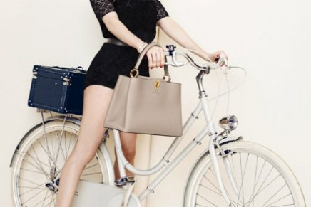 Michelle Williams gets on her bike for Louis Vuitton
