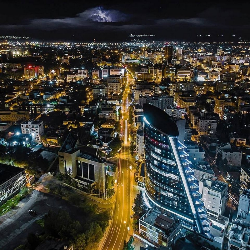 Midnight aerial shot of one of the busiest avenues in Nicosia