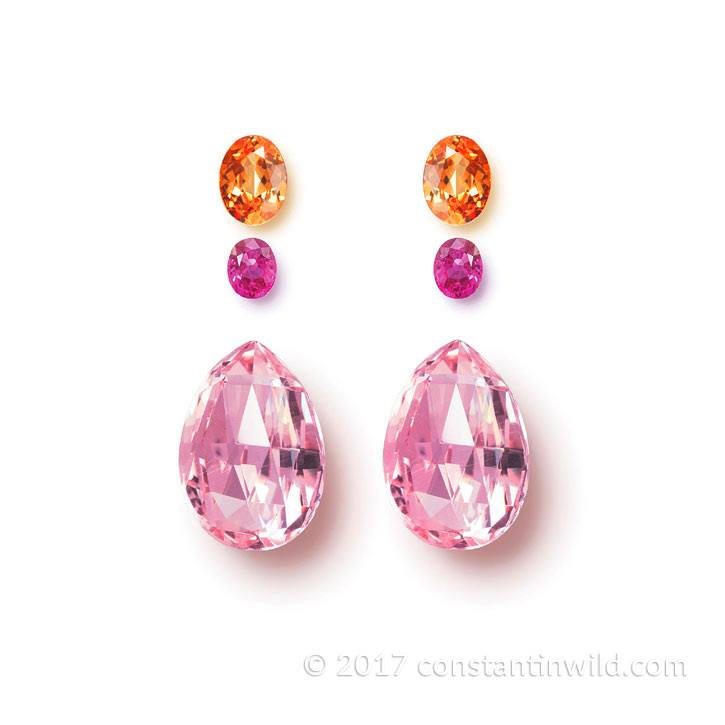 Morganite briolettes with oval Ruby and Mandarin Garnet in sparkling harmony @constantinwild.gems