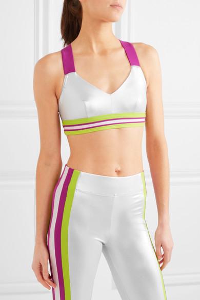 Ola striped metallic sports bra