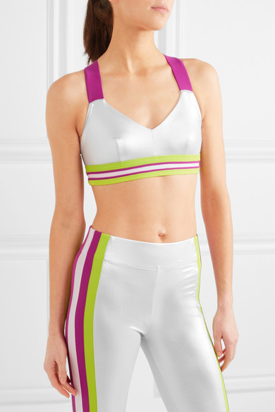 Ola striped metallic sports bra
