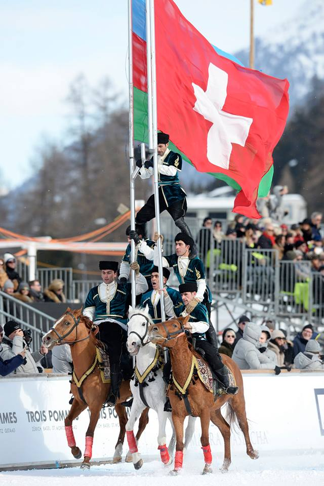 Opening Show at the Finals day of the Snow Polo World Cup in St. Moritz with the Sarhadchi cavalry