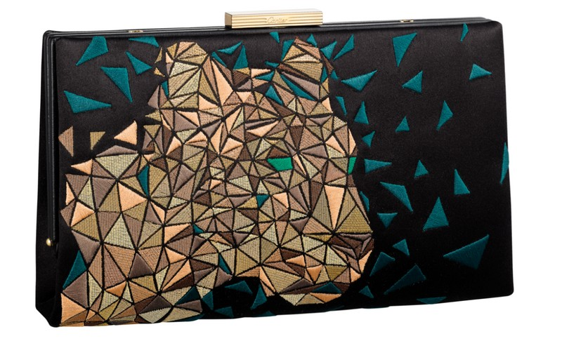 Panthère de Cartier clutch bags 2018 collection-BLACK SATIN EMBROIDERED PANTHER HEAD, GOLDEN FINISH